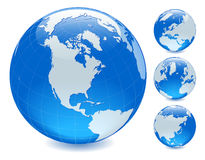 Four side shiny globes Stock Photos