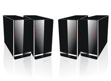 Four side by side black server. Quartet position isolated with white background Royalty Free Illustration