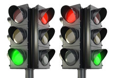 Four sided traffic lightm red and green variations Royalty Free Stock Photography