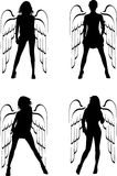 Four Silhouette Winged Girls Angels. Royalty Free Stock Photos