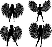 Four Silhouette Winged Girls Angels Stock Photos