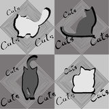 Four silhouettes of cats in different poses. Four black and white silhouettes of cats in different poses Royalty Free Stock Photography