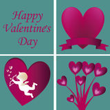 Four silhouettes for valentines day Stock Photo