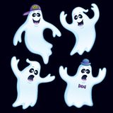Four Silly Ghosts. Cartoon illustration of a four ghosts with different silly expressions, one in a bowler hat and bow tie, another in backwards baseball hat vector illustration