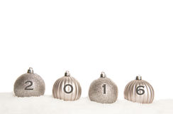 Four silver christmas balls with 2016 Stock Images