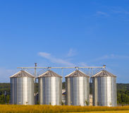 Four silver silos Royalty Free Stock Photos