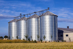 Four silver silos Royalty Free Stock Image