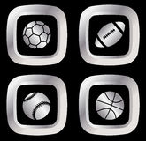 Four silver sport icons Stock Images