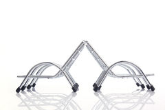 Four silver steel chair. Eye view four silver steel chair isolated on white background Royalty Free Stock Image