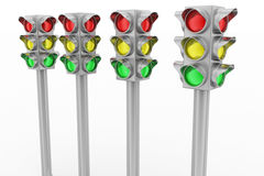 Four Silver Traffic Lights Royalty Free Stock Image