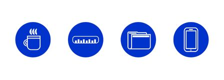 Basic business office icons in vector stock illustration