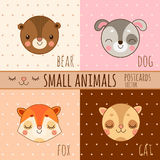 Four simple cartoon images head of animals Stock Images