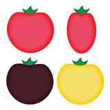 Four simple cartoon tomatoes Royalty Free Stock Image