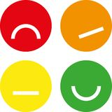 Four simple and flat classification emojis for rating. Vector illustration. Four simple and flat classification emojis for rating royalty free illustration