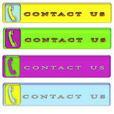 Four simple rectangular contact us button Royalty Free Stock Photos