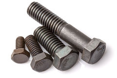Four Sizes Screws Isolated On White Royalty Free Stock Photography