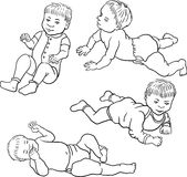 Four sketch of baby Royalty Free Stock Photos