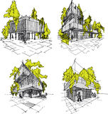 Four sketches of abstract modern architecture with green and trees Stock Photos
