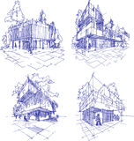 Four sketches of abstract modern architecture with green and trees Royalty Free Stock Images