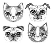 Four sketchy pen drawings of cute dogs and cats. With big eyes royalty free stock photo