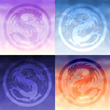 Four sky dragons. Four china sky dragons - morning, day, evening and night Royalty Free Stock Image