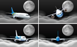 Four sky scenes with airplane flying. Illustration vector illustration