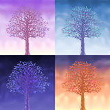 Four sky trees Stock Photos