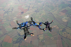 Four skydivers in freefall. On a sunny day Royalty Free Stock Photo