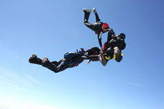 Four skydivers after the have exit an airplane. On a bright sunny day Stock Photography
