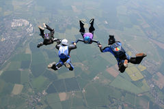 Four skydivers holding hands. While in freefall Royalty Free Stock Photo