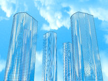Four skyscrapers on a background of sky and clouds Stock Photography