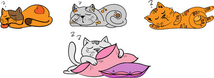 Four sleep cats set Royalty Free Stock Photos