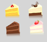 Four slices of cake Stock Images