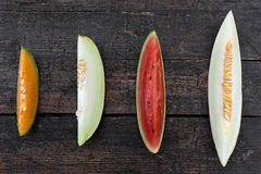 Four slices of melons Stock Images