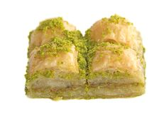 Pistachio Baklavas isolated on white background Stock Images