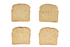 Four Slices Wheat Bread Top View Stock Photos