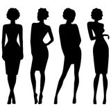 Four slim attractive women silhouettes Royalty Free Stock Image