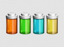 Four small bottles in different colors. Illustration Royalty Free Stock Image