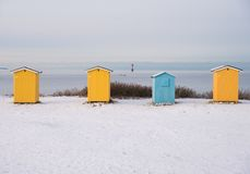 Four small huts Stock Photography