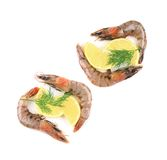 Four small raw shrimp with lemon Royalty Free Stock Image