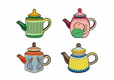 Four small teapots. Teapot Collection, Eps 8 file Stock Illustration