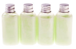 Isolated Green Lotion Bottles Stock Photo
