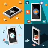 Four smart phones in panels Royalty Free Stock Images