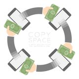 Four Smartphone with pop up hand holding cash circle shape set Stock Photos