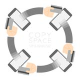 Four Smartphone with pop up hand holding credit card circle Stock Image