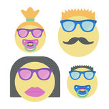 Four smiles for family. Smiley woman in sunglasses with lipstick, man with moustache and children with nipple. Stock Image