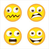 Four smiley. With different face expression Royalty Free Stock Photo