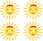 Four smiley sun Royalty Free Stock Photography