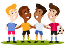 Four smiling multicultural cartoon soccer player friends Royalty Free Stock Photo
