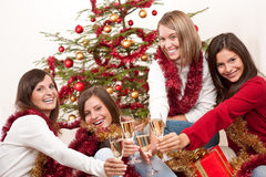 Four smiling women on Christmas Royalty Free Stock Photos